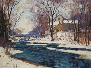 Artwork by Manly Edward MacDonald, Winter Landscape with Mill