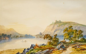 Artwork by William Nicoll Cresswell, Boaters and Figures on Shore