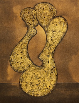 Artwork by Jim Ritchie, Pair of Etchings: Abstract Form; Abstract in Green