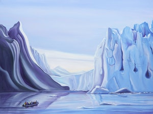 Artwork by Linda Mackey, Arctic Landscape with Boat
