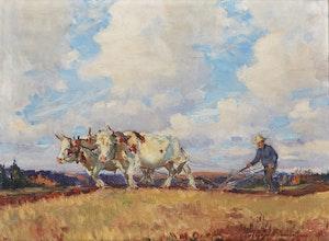 Artwork by Manly Edward MacDonald, Joe Malloy's Oxen Hastings Co.