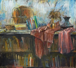 Artwork by Joseph Francis Plaskett, Bookshelf Still Life