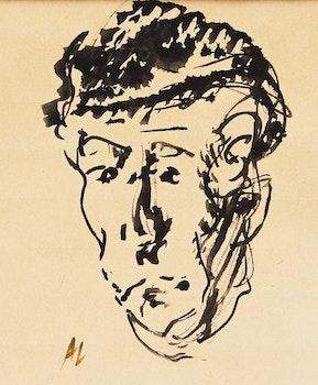 Artwork by Arthur Lismer, Portrait of A.Y. Jackson