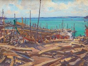 Artwork by Manly Edward MacDonald, Building a Schooner, Lunenberg, Nova Scotia