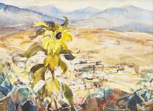 Artwork by Frank Leonard Brooks, View from Calle Are[_], San Mateo, Mexico