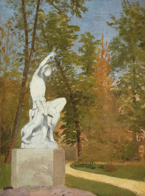 Artwork by Paul Peel,  Statue in a Park