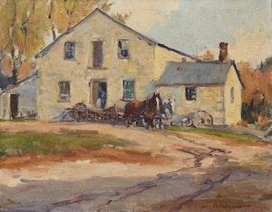 Artwork by Manly Edward MacDonald, Mill-House, Farmer, Horses and Buckboard