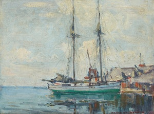 Artwork by Manly Edward MacDonald, Two Masted Boat in Harbour