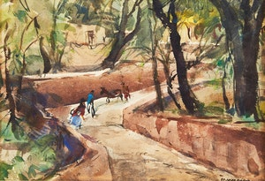 Artwork by Frank Leonard Brooks, Parque Juarez, San Miguel de Allende, Mexico