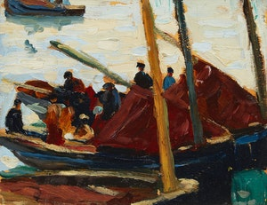 Artwork by Randolph Stanley Hewton, Moored Boats in Venice