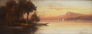 Artwork by W. Chandler, Sailboats on the Lake at Sunset; Sailboats on the Lake