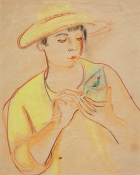 Artwork by Lillian Freiman, Woman holding Small Birdcage