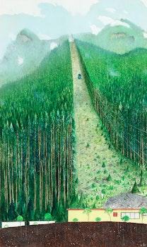 Artwork by William Kurelek, The Grouse Mountain Sky Ride