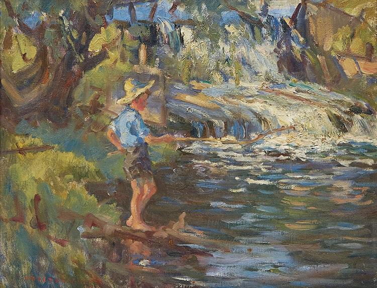 Artwork by Manly Edward MacDonald,  Duncan MacDonald Fishing Before Waterfall