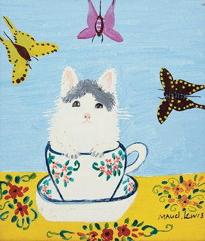Artwork by Maud Lewis, White Kitten in a Tea Cup
