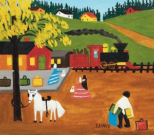 Artwork by Maud Lewis, At the Train Station