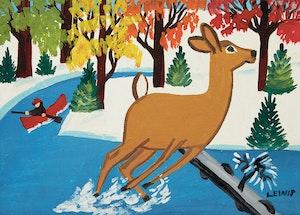 Artwork by Maud Lewis, Surprised Deer