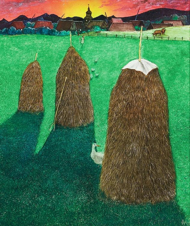 Artwork by William Kurelek,  Haystacks and Ducks (Ukrainian Series)