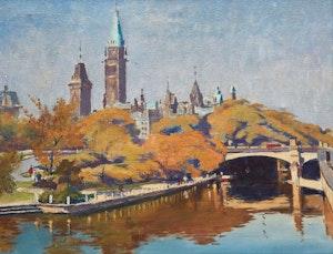 Artwork by Robert Wakeham Pilot, Parliament Hill, Overlooking the Rideau Canal
