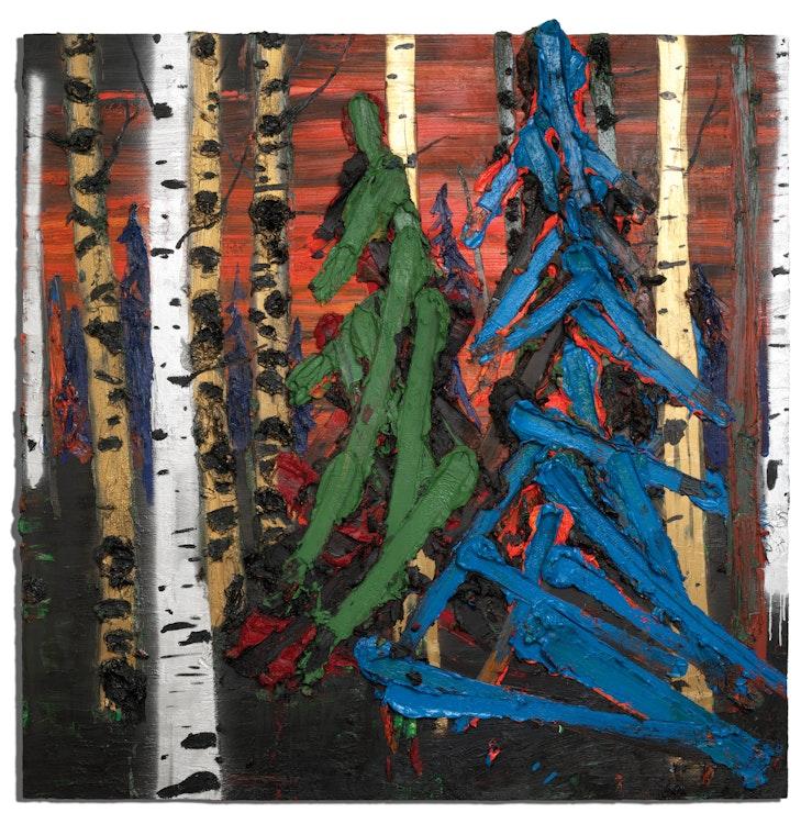 Artwork by Kim Dorland,  Green Tree Blue Tree