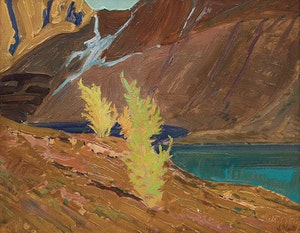 Artwork by James Edward Hervey MacDonald, Larches, Mountain Lake