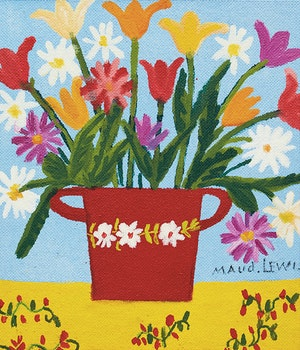 Artwork by Maud Lewis, Flowers in Red Pot