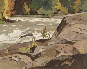 Artwork by Alfred Joseph Casson, Rapids on the Rouge River, Quebec
