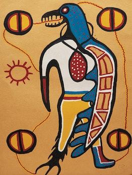 Artwork by Norval Morrisseau, Shaman-Thunderbird Transformation