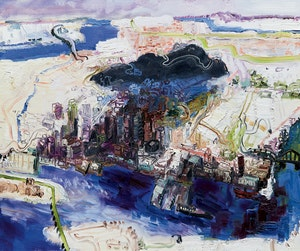 Artwork by John Hartman, The Old Port and Mount Royal
