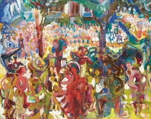 Artwork by Pegi Nicol MacLeod, Centennial Parade (Fredericton)