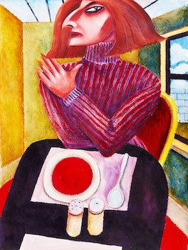 Artwork by Graham Knuttel, Woman with Soup