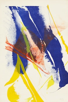 Artwork by Paul Jenkins, Untitled Abstract (Blue and Yellow)