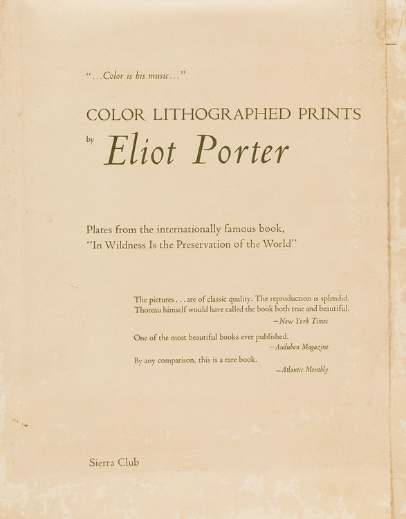 """Artwork by Eliot Furness Porter,  Plates from the book """"In Wildness Is the Preservation of the World"""""""