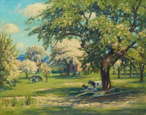 Artwork by Frederick Henry Brigden, Cows at Pasture
