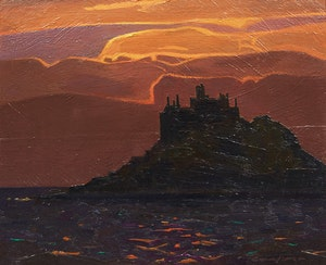 Artwork by Charles Fraser Comfort, St. Michael's Mount, Cornwall (from Basore Point, Looking West)