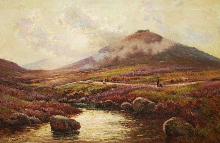 Artwork by Alfred Fontville de Breanski,  On the River Lyd Dartmoor
