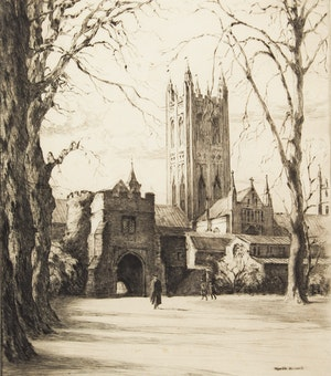 Artwork by Gyrth Russell, Church and Figures