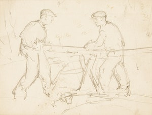 Artwork by Manly Edward MacDonald, Men Sawing a Log; Two Men Chatting; Studies of Male Figures Working