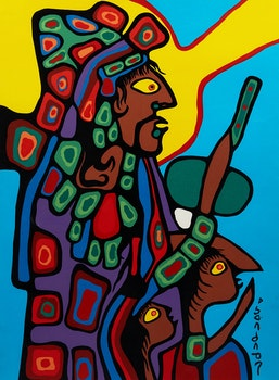 Artwork by Norval Morrisseau, Father and Child