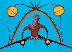 Artwork by Lloyd Kakepetum, Man in Wigwam; Animal Direction