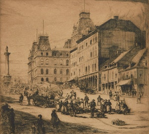 Artwork by Herbert Raine, Place Jacques Cartier, Montreal