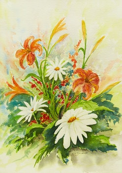 Artwork by  20th Century Canadian School, Prairie Lilies and Daisies