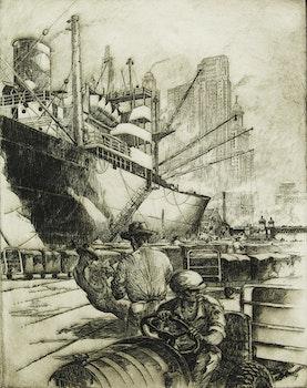 Artwork by William Kent Hagerman, Wharfside - Chicago