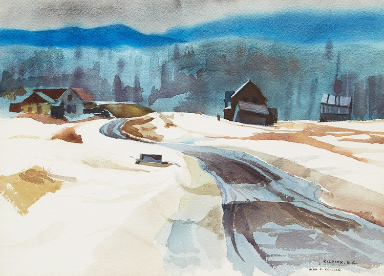 Artwork by Alan Caswell Collier,  March in Kispiox, B.C.