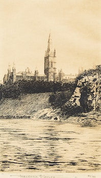 Artwork by Frederick Bourchier Taylor, Houses of Parliament; Chateau Frontenac
