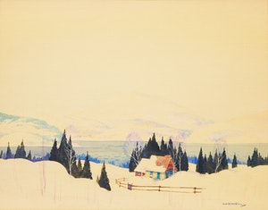 Artwork by Graham Noble Norwell, Winter Landscape with Cabin
