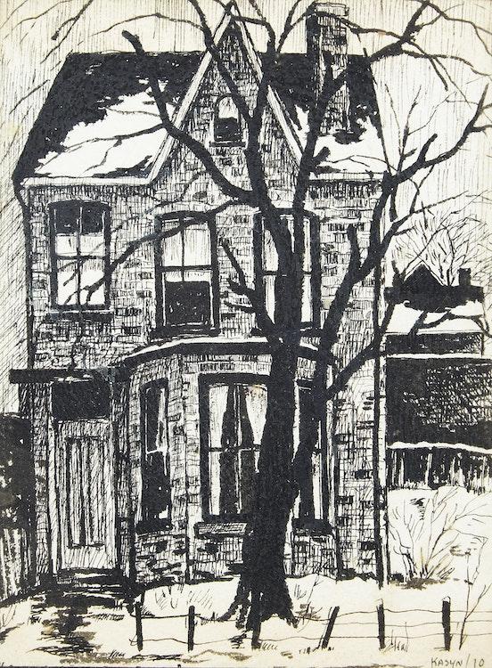Artwork by John Kasyn,  Old House on Shuter Street