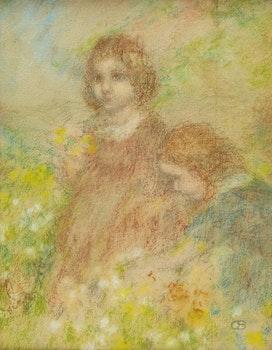 Artwork by Charles de Belle, Two Little Girls