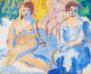 Artwork by Marjorie (Jori) Smith, Three Nudes in a Landscape