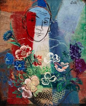 Artwork by Eric Goldberg, Man with Flowers